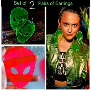 "Jewelry - 2 sets Of NEW EARRINGS ""ALIEN HEAD"" laser cut"